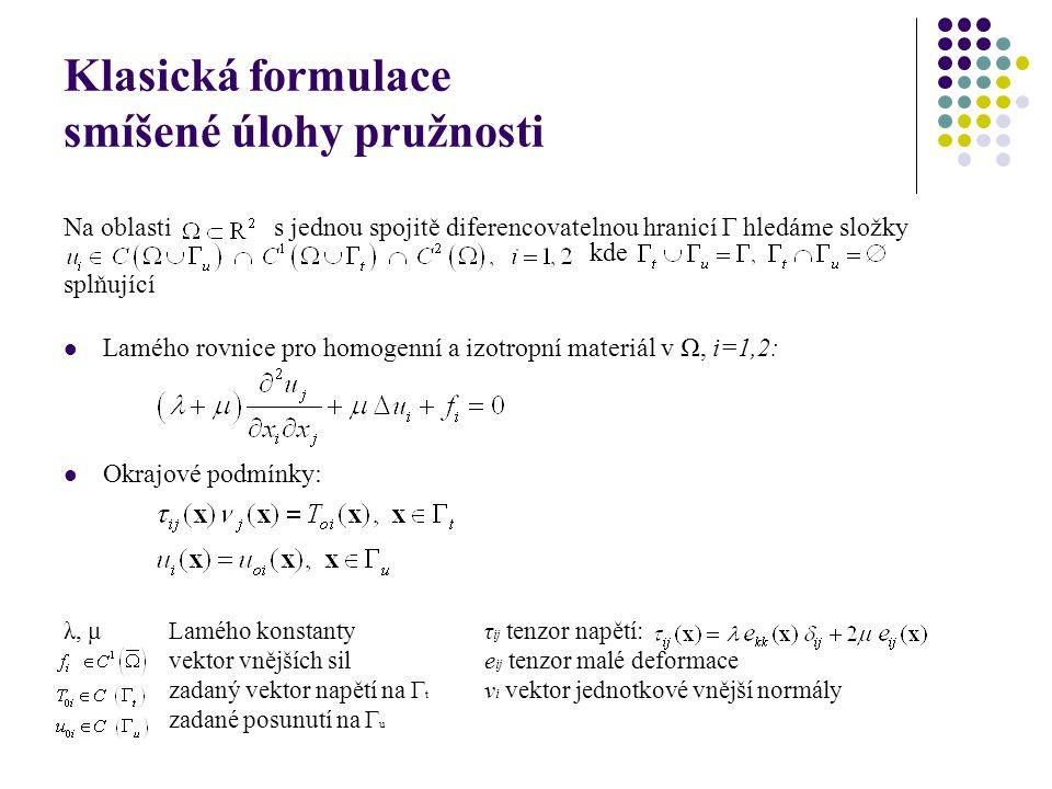 Klasická formulace smíšené úlohy pružnosti