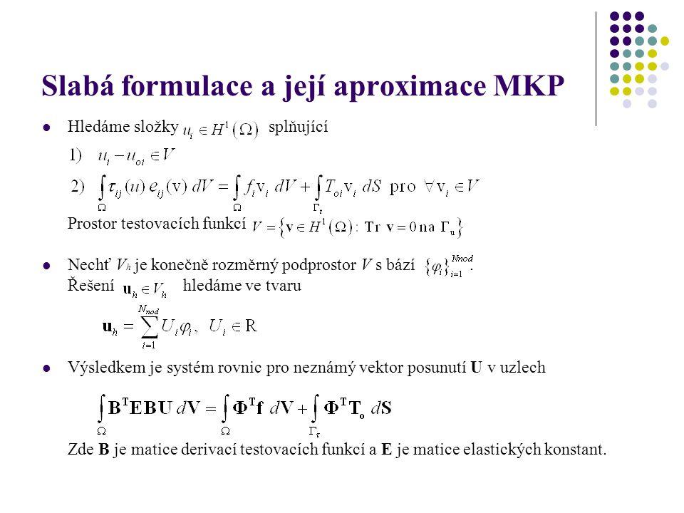 Slabá formulace a její aproximace MKP