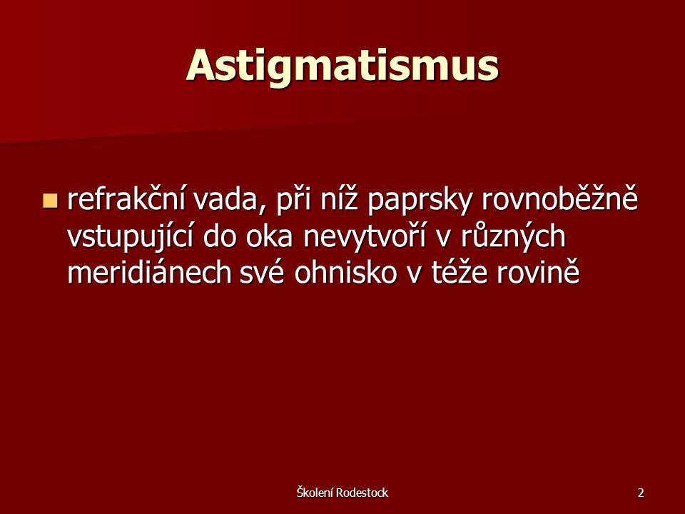 Astigmatismus refrakční vada, při níž paprsky rovnoběžně vstupující do oka nevytvoří v různých meridiánech své ohnisko v téže rovině.