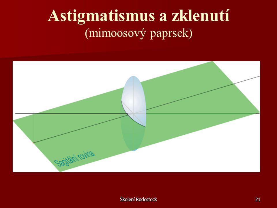 Astigmatismus a zklenutí (mimoosový paprsek)