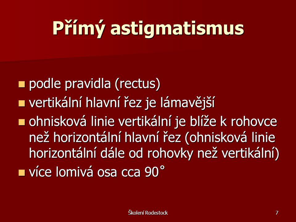 Přímý astigmatismus podle pravidla (rectus)