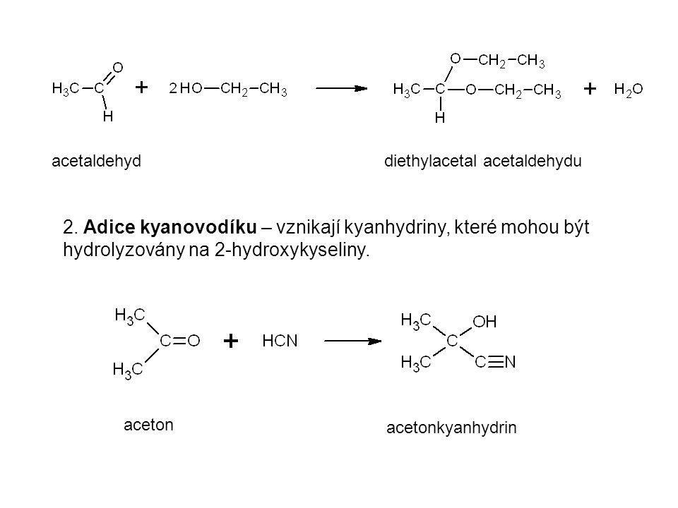 acetaldehyd diethylacetal acetaldehydu. 2. Adice kyanovodíku – vznikají kyanhydriny, které mohou být hydrolyzovány na 2-hydroxykyseliny.