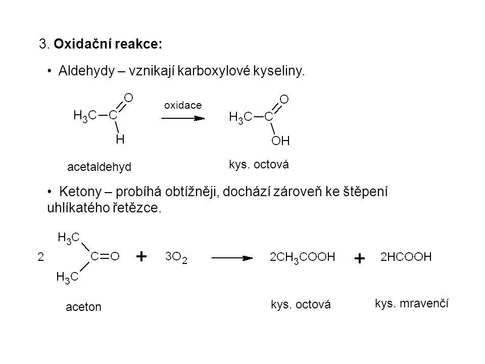 Aldehydy – vznikají karboxylové kyseliny.