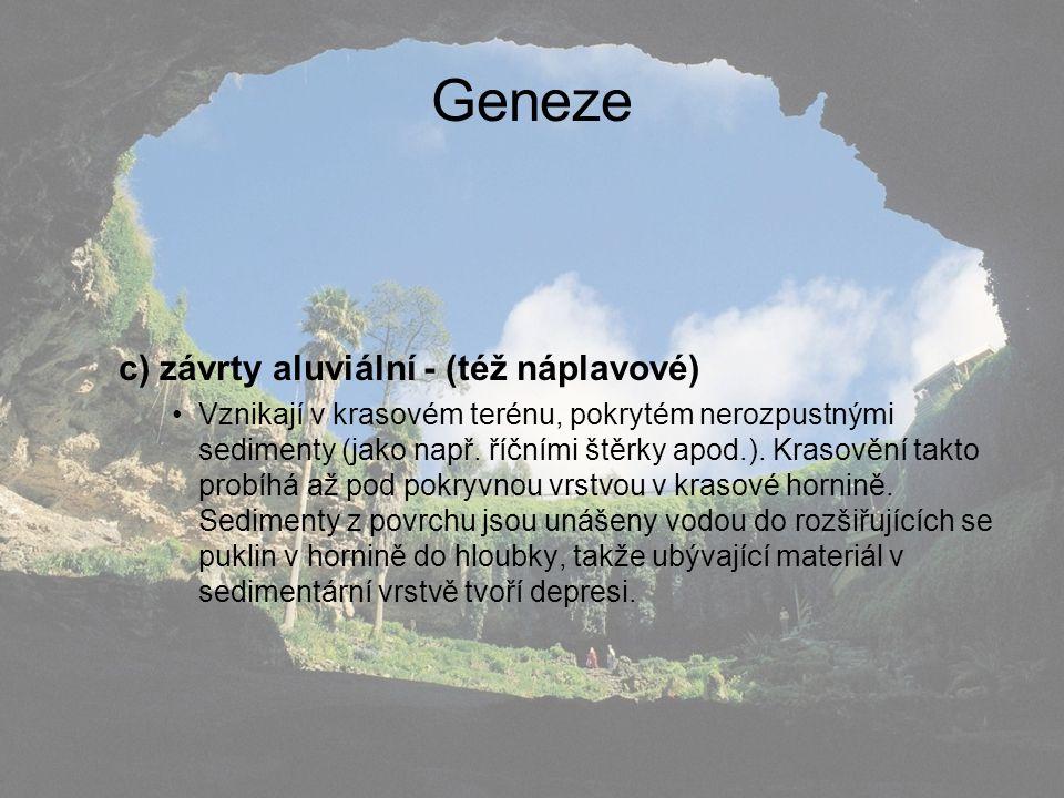Geneze c) závrty aluviální - (též náplavové)
