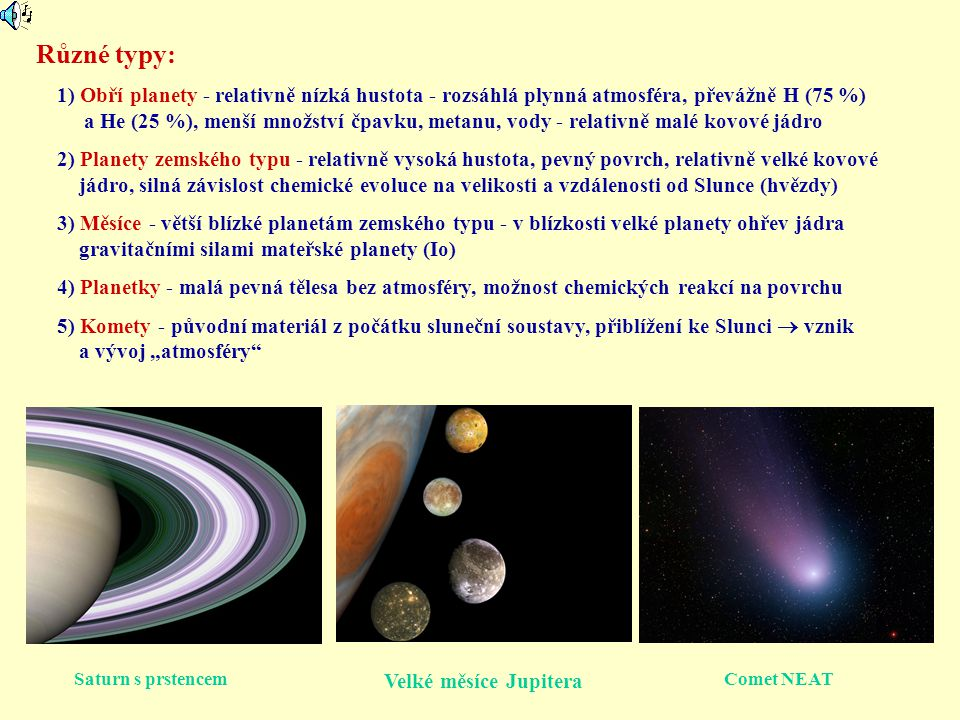 Různé typy: 1) Obří planety - relativně nízká hustota - rozsáhlá plynná atmosféra, převážně H (75 %)