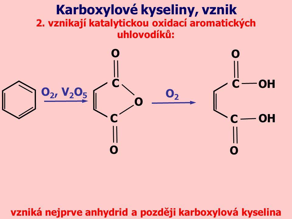Karboxylové kyseliny, vznik