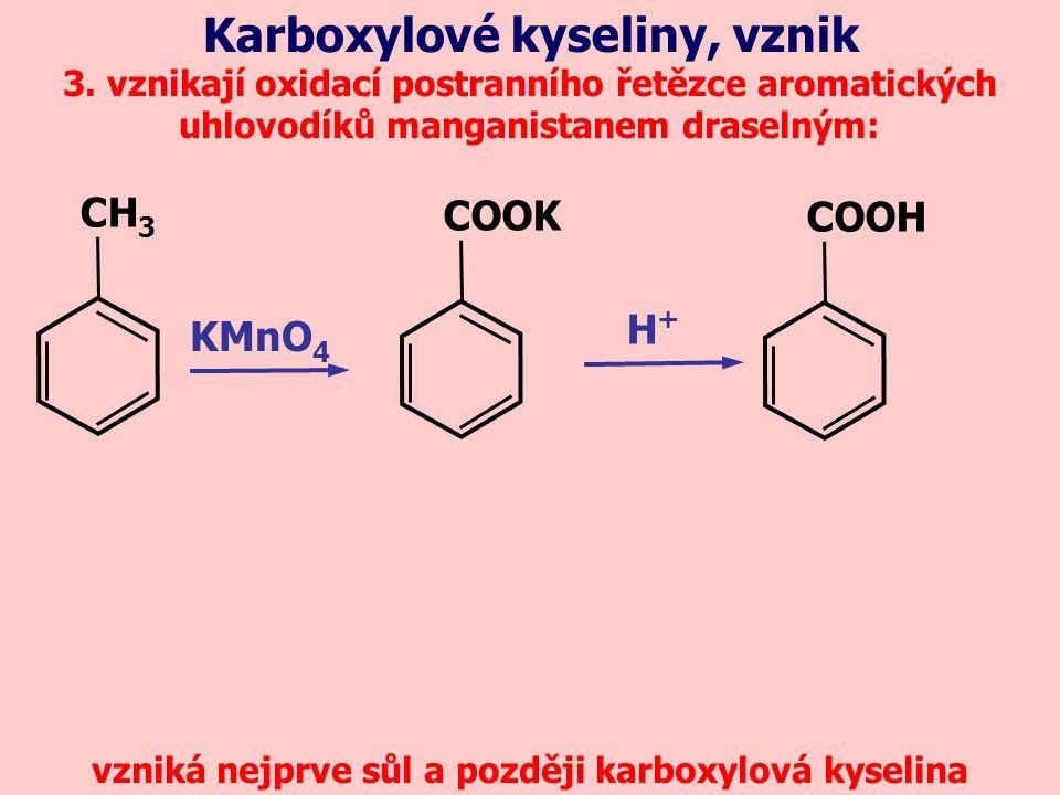 vzniká nejprve sůl a později karboxylová kyselina
