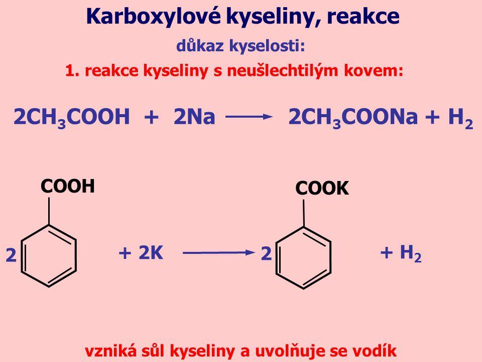 Karboxylové kyseliny, reakce