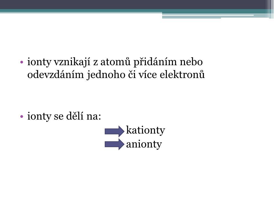 ionty vznikají z atomů přidáním nebo odevzdáním jednoho či více elektronů