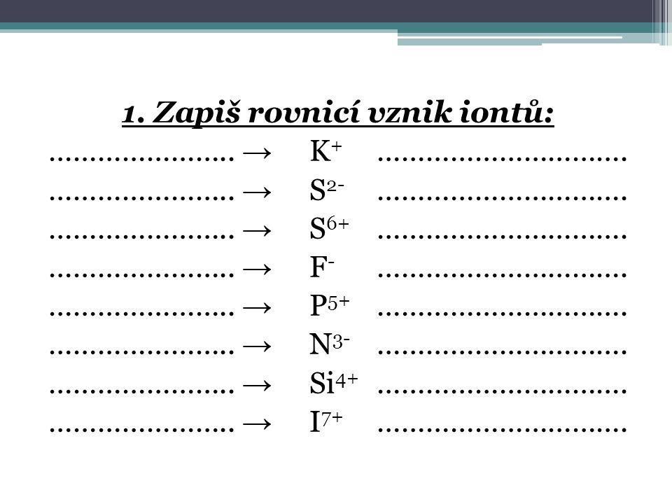 1. Zapiš rovnicí vznik iontů: …………………. → K+ …………………………. …………………