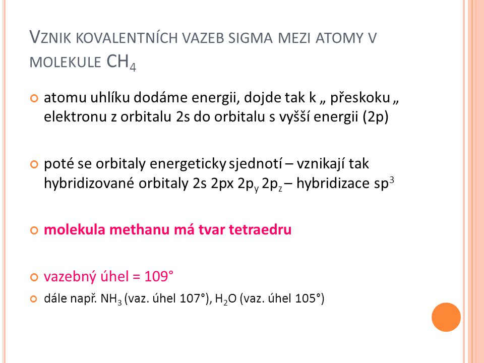 Vznik kovalentních vazeb sigma mezi atomy v molekule CH4