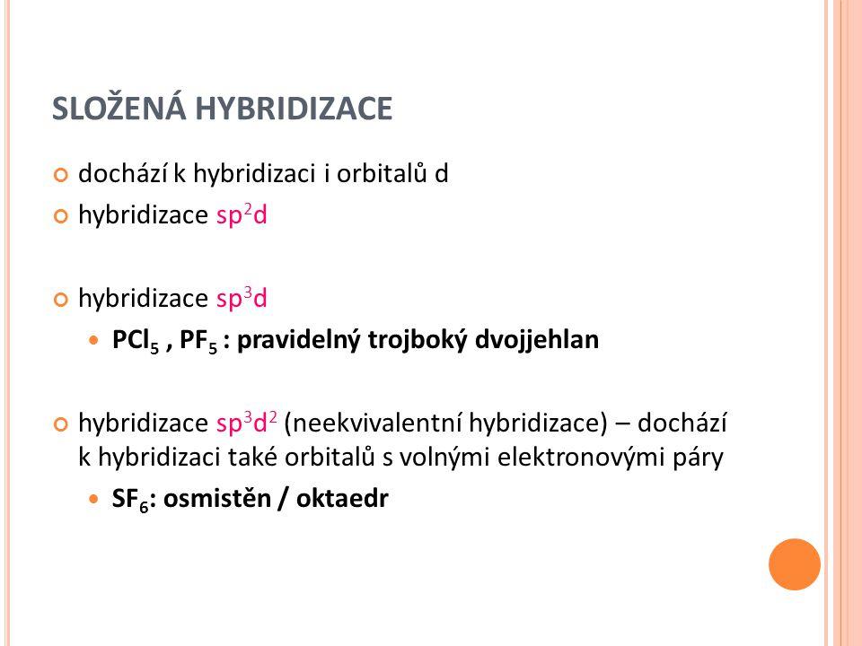 SLOŽENÁ HYBRIDIZACE dochází k hybridizaci i orbitalů d