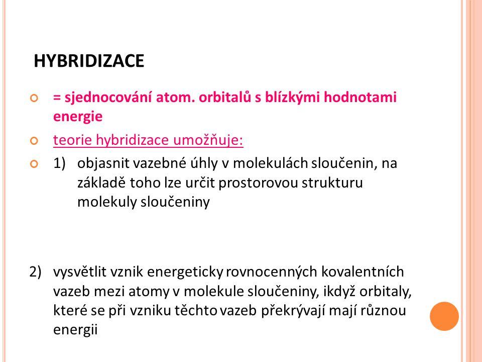 HYBRIDIZACE = sjednocování atom. orbitalů s blízkými hodnotami energie