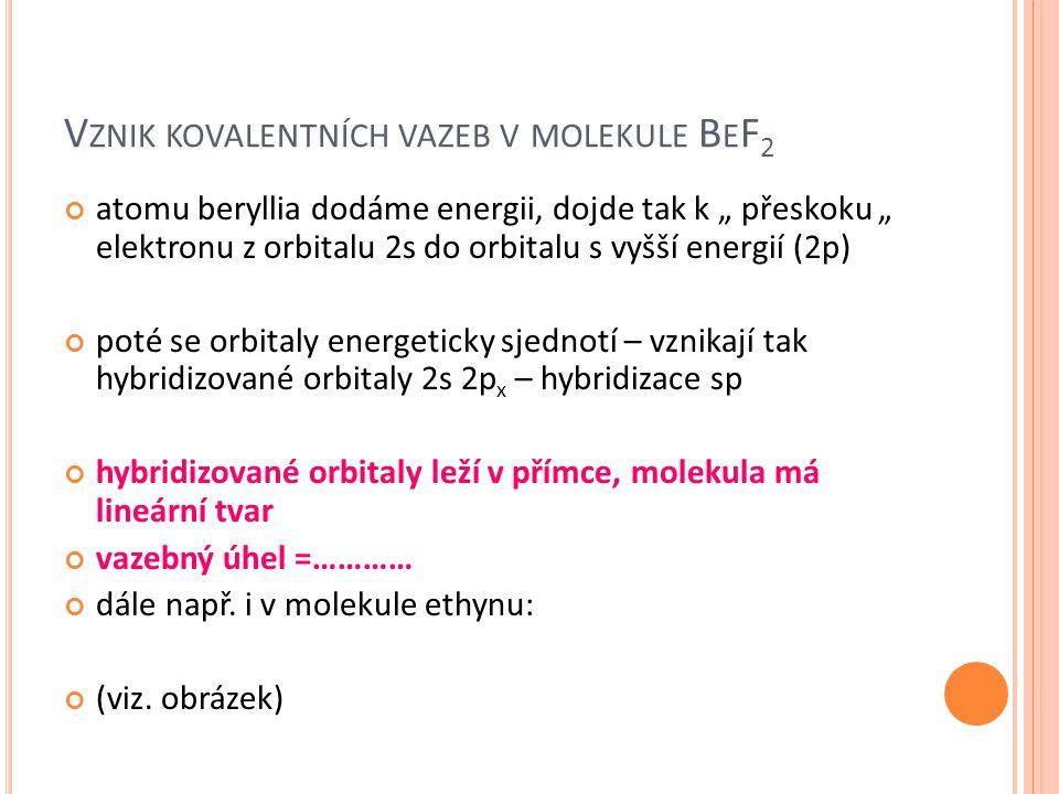 Vznik kovalentních vazeb v molekule BeF2