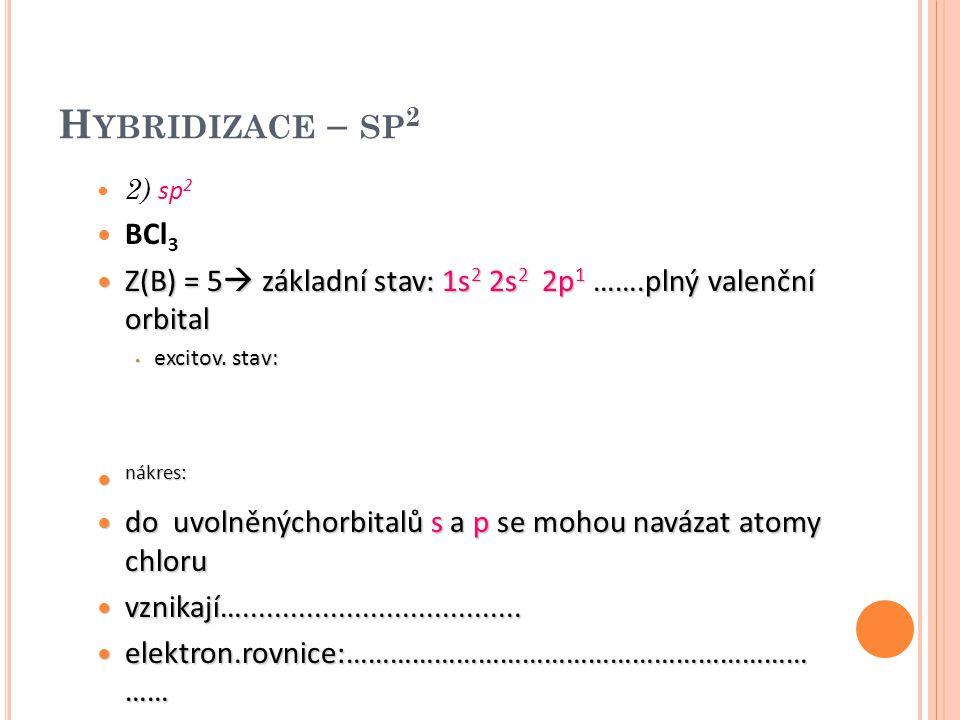 Hybridizace – sp2 2) sp2. BCl3. Z(B) = 5 základní stav: 1s2 2s2 2p1 …….plný valenční orbital. excitov. stav: