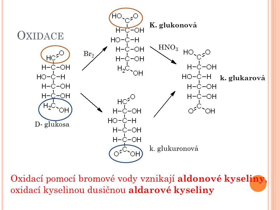 Oxidace Oxidací pomocí bromové vody vznikají aldonové kyseliny,