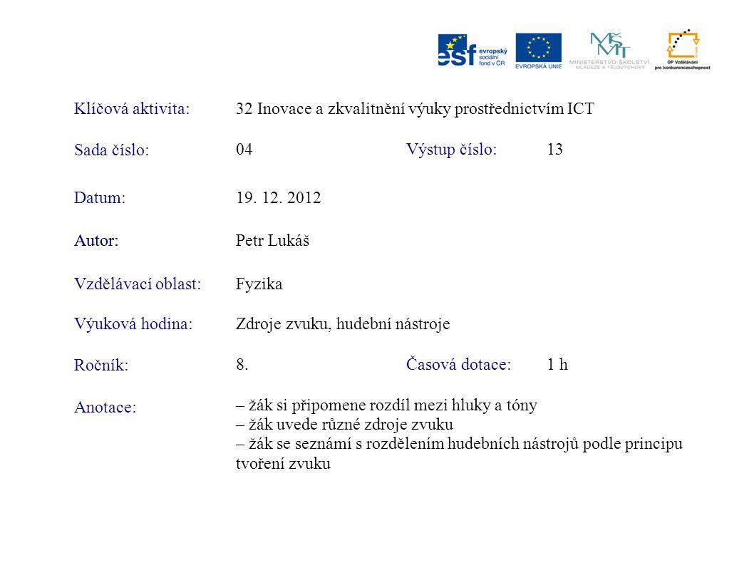 Klíčová aktivita: 32 Inovace a zkvalitnění výuky prostřednictvím ICT. Sada číslo: 04. Výstup číslo: