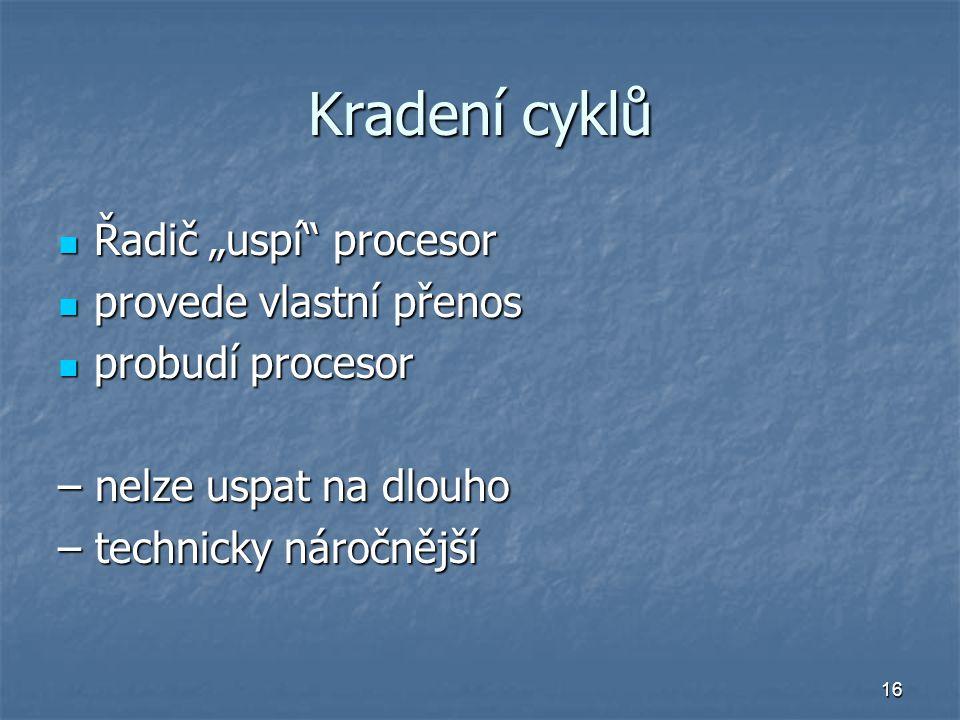 """Kradení cyklů Řadič """"uspí procesor provede vlastní přenos"""