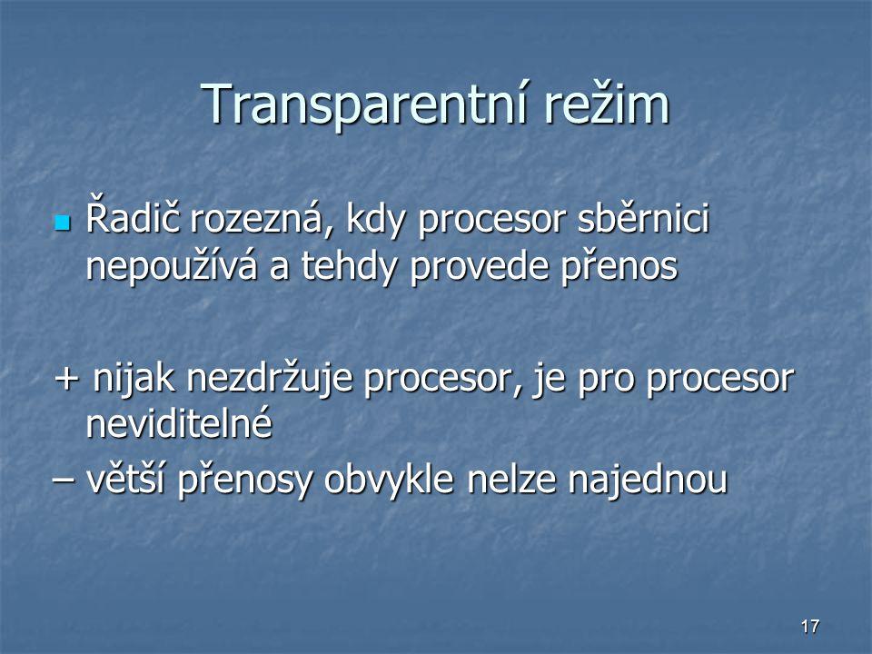 Transparentní režim Řadič rozezná, kdy procesor sběrnici nepoužívá a tehdy provede přenos. + nijak nezdržuje procesor, je pro procesor neviditelné.