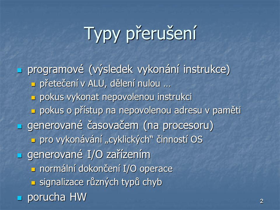 Typy přerušení programové (výsledek vykonání instrukce)