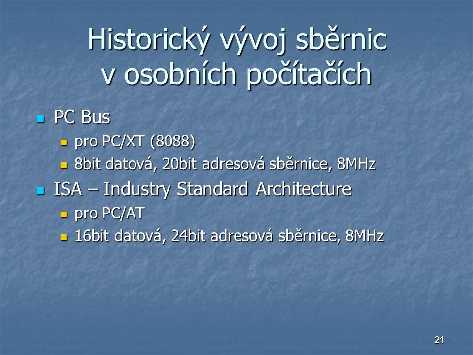 Historický vývoj sběrnic v osobních počítačích