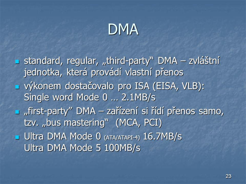 """DMA standard, regular, """"third-party DMA – zvláštní jednotka, která provádí vlastní přenos."""