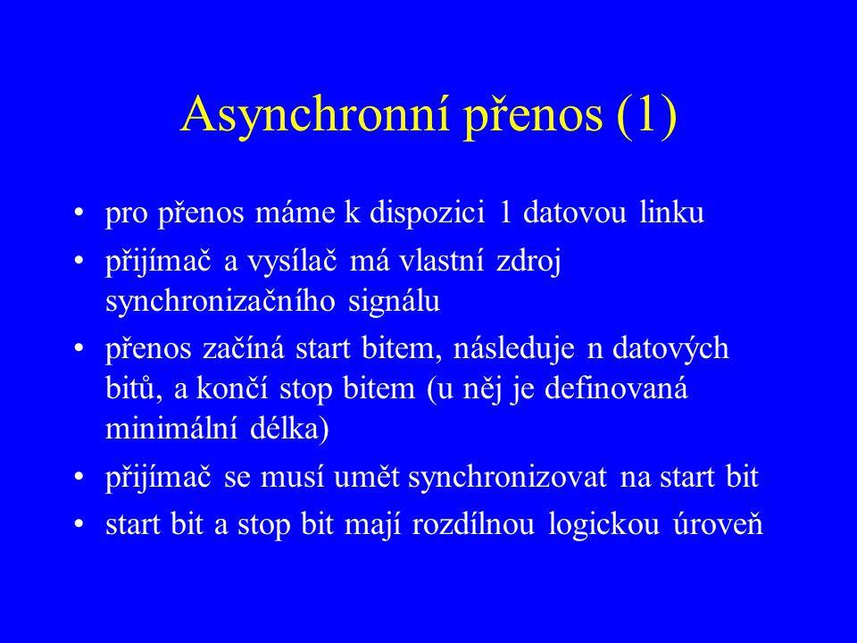 Asynchronní přenos (1) pro přenos máme k dispozici 1 datovou linku