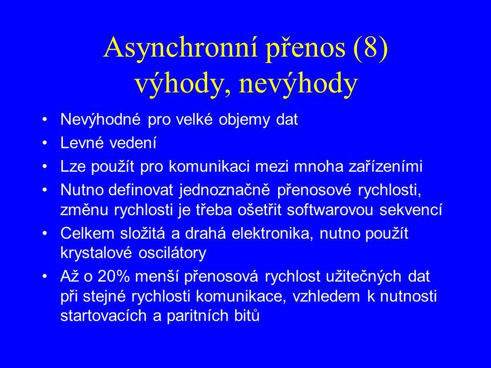 Asynchronní přenos (8) výhody, nevýhody