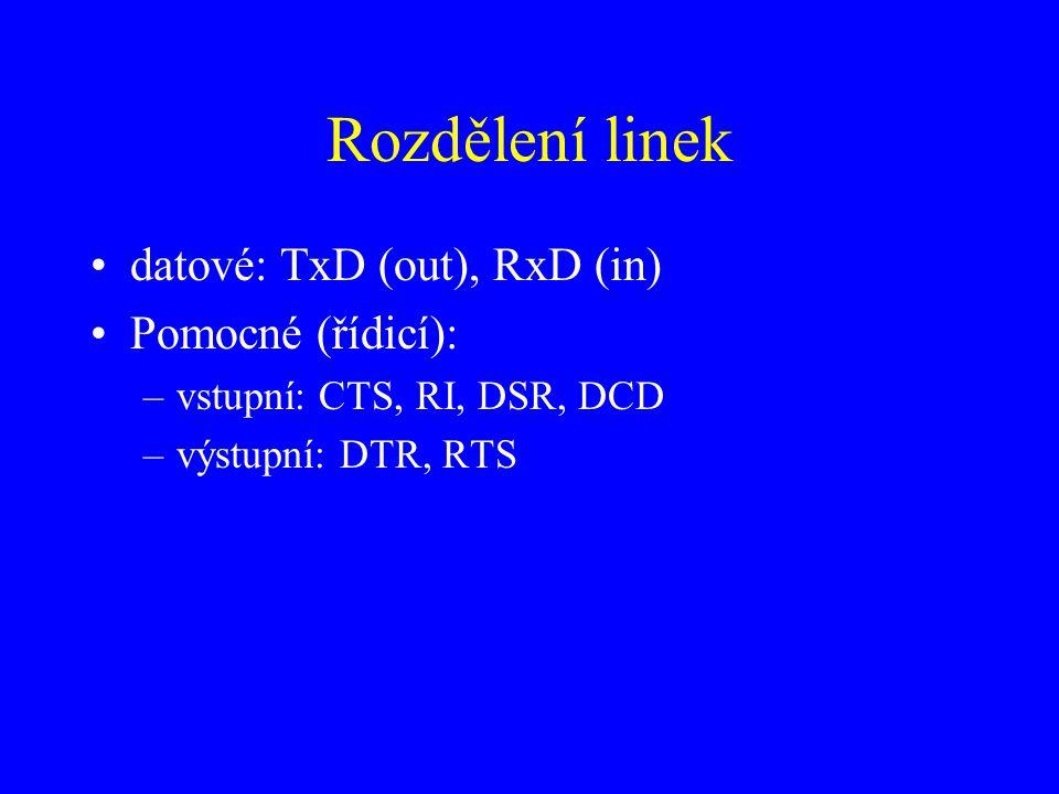 Rozdělení linek datové: TxD (out), RxD (in) Pomocné (řídicí):