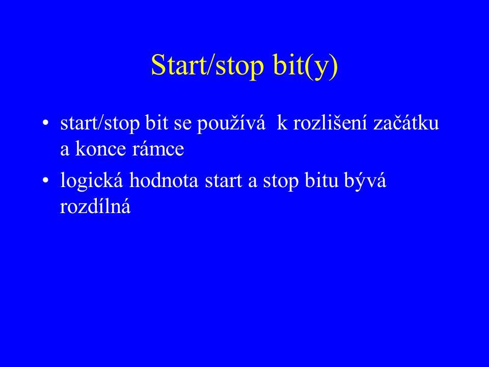 Start/stop bit(y) start/stop bit se používá k rozlišení začátku a konce rámce.