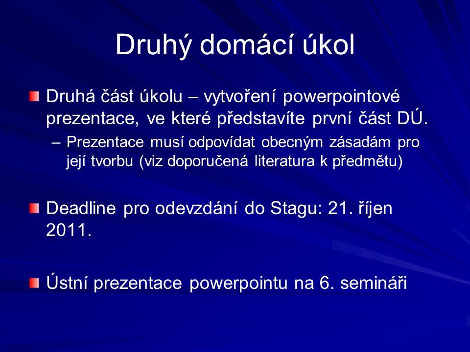 Druhý domácí úkol Druhá část úkolu – vytvoření powerpointové prezentace, ve které představíte první část DÚ.
