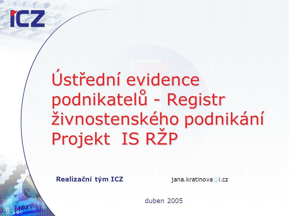 Realizační tým ICZ jana.kratinova@i.cz duben 2005