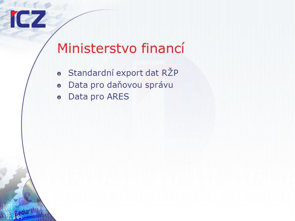 Ministerstvo financí Standardní export dat RŽP Data pro daňovou správu