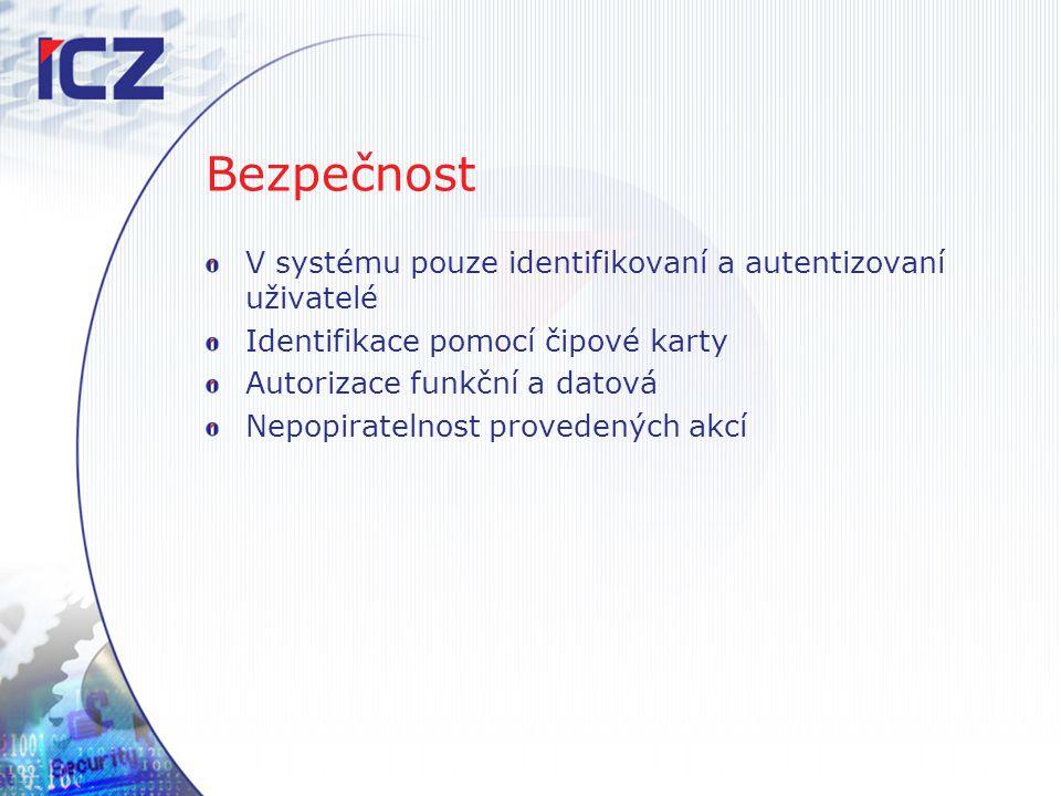 Bezpečnost V systému pouze identifikovaní a autentizovaní uživatelé