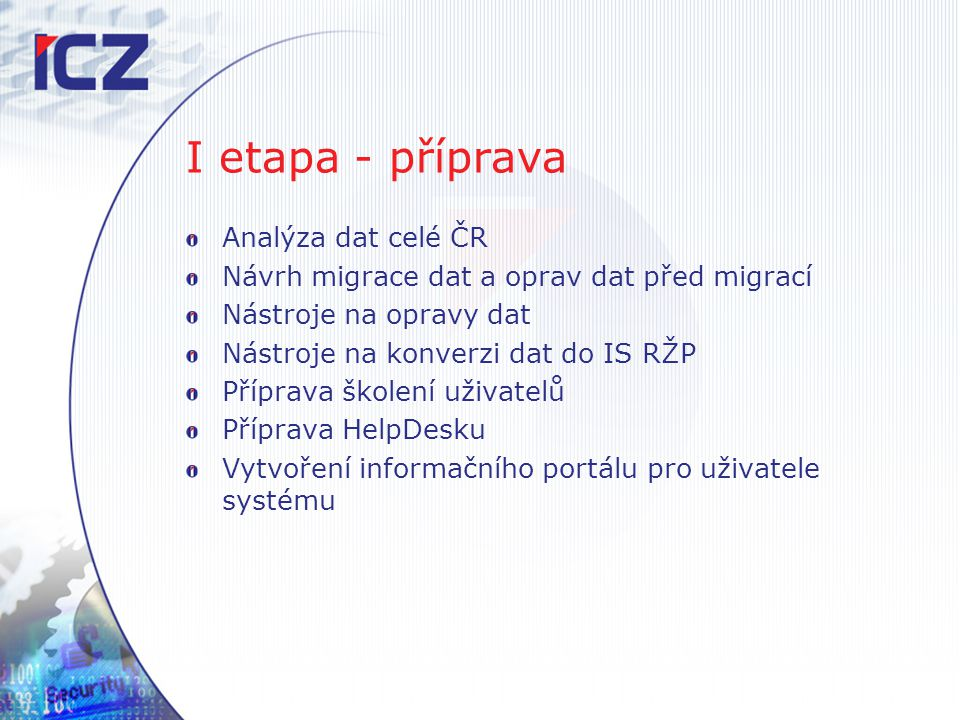 I etapa - příprava Analýza dat celé ČR