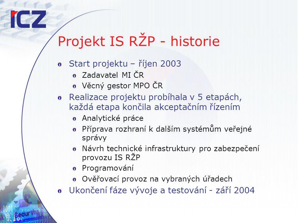 Projekt IS RŽP - historie