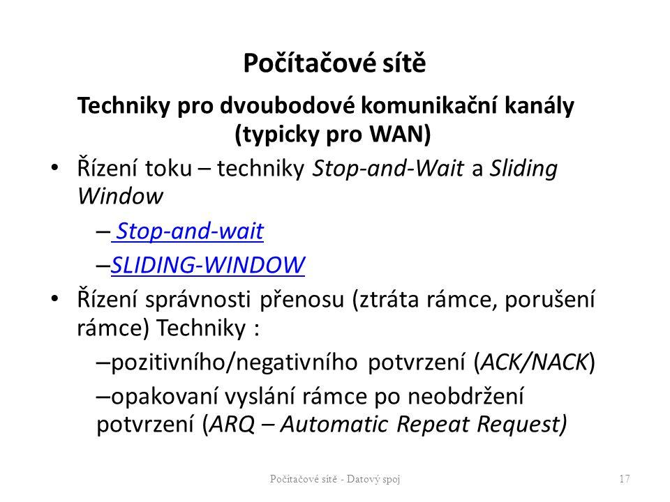 Techniky pro dvoubodové komunikační kanály (typicky pro WAN)