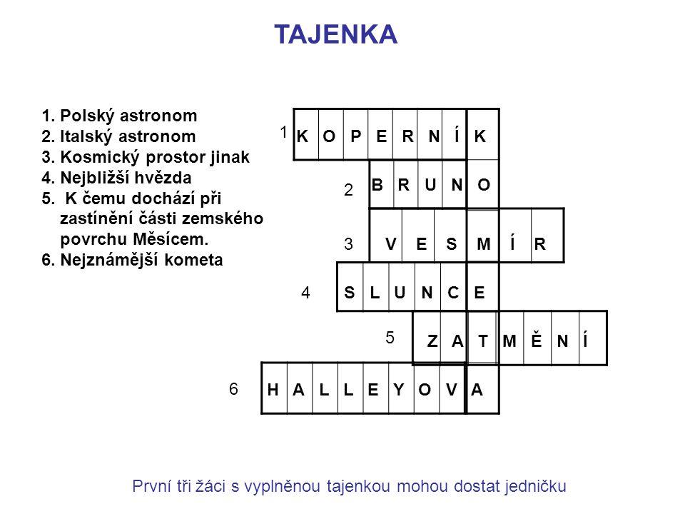 TAJENKA 1. Polský astronom 2. Italský astronom