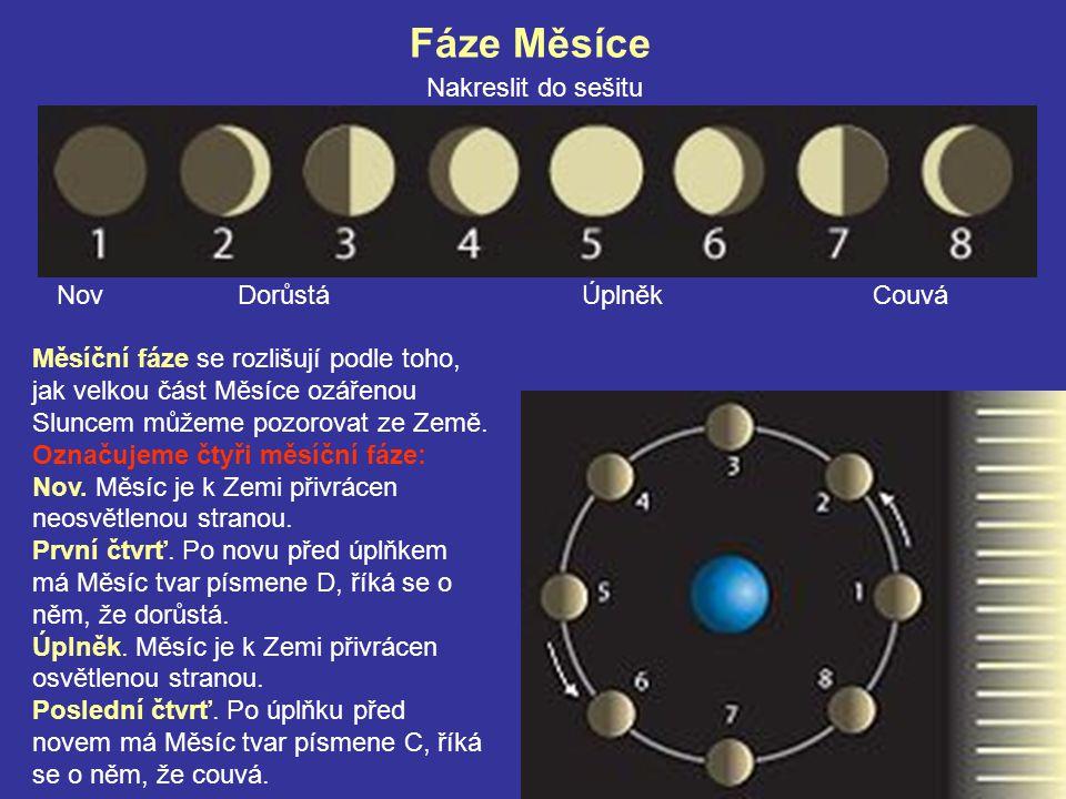 Fáze Měsíce Nakreslit do sešitu Nov Dorůstá Úplněk Couvá