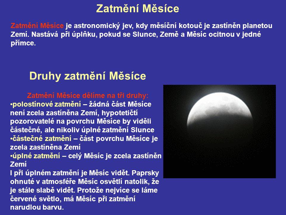 Zatmění Měsíce dělíme na tři druhy:
