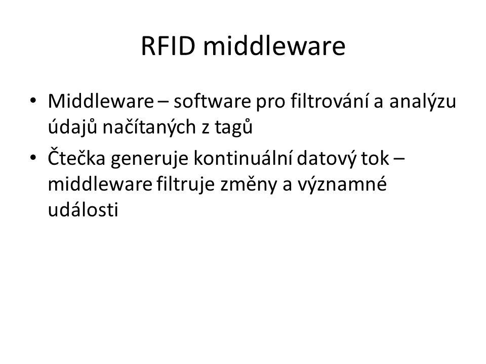 RFID middleware Middleware – software pro filtrování a analýzu údajů načítaných z tagů.