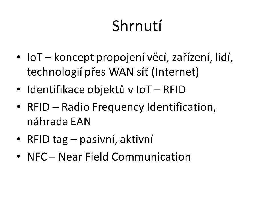 Shrnutí IoT – koncept propojení věcí, zařízení, lidí, technologií přes WAN síť (Internet) Identifikace objektů v IoT – RFID.
