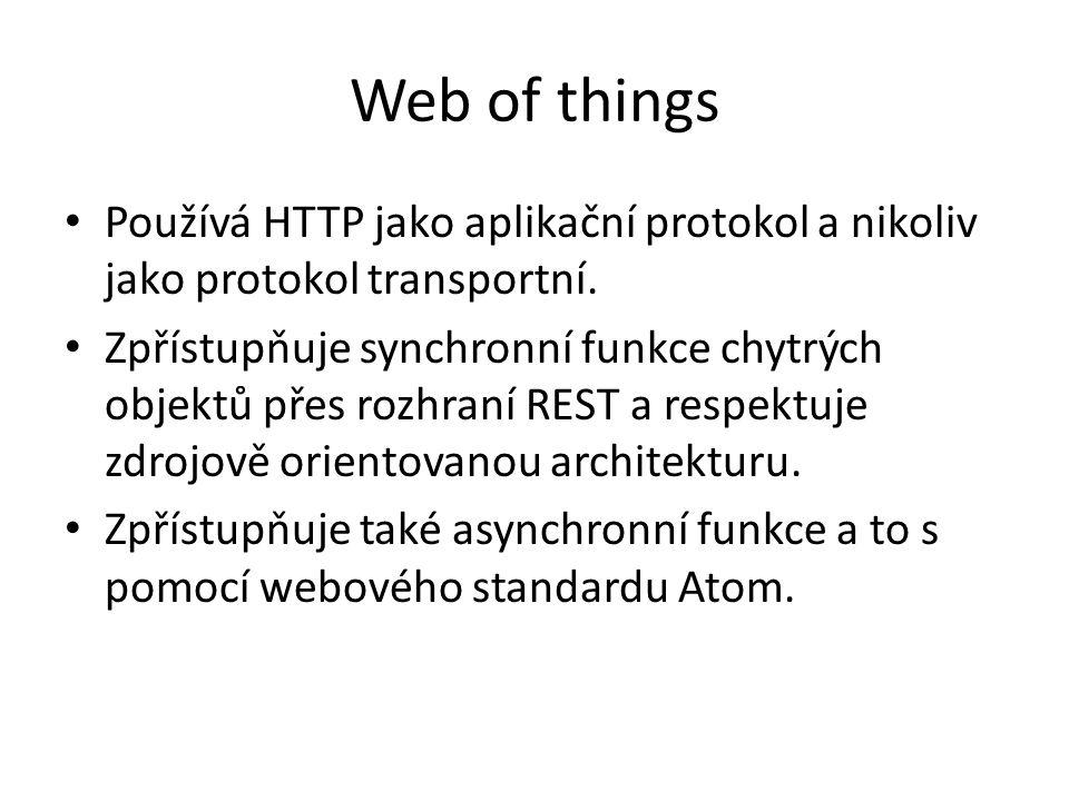 Web of things Používá HTTP jako aplikační protokol a nikoliv jako protokol transportní.