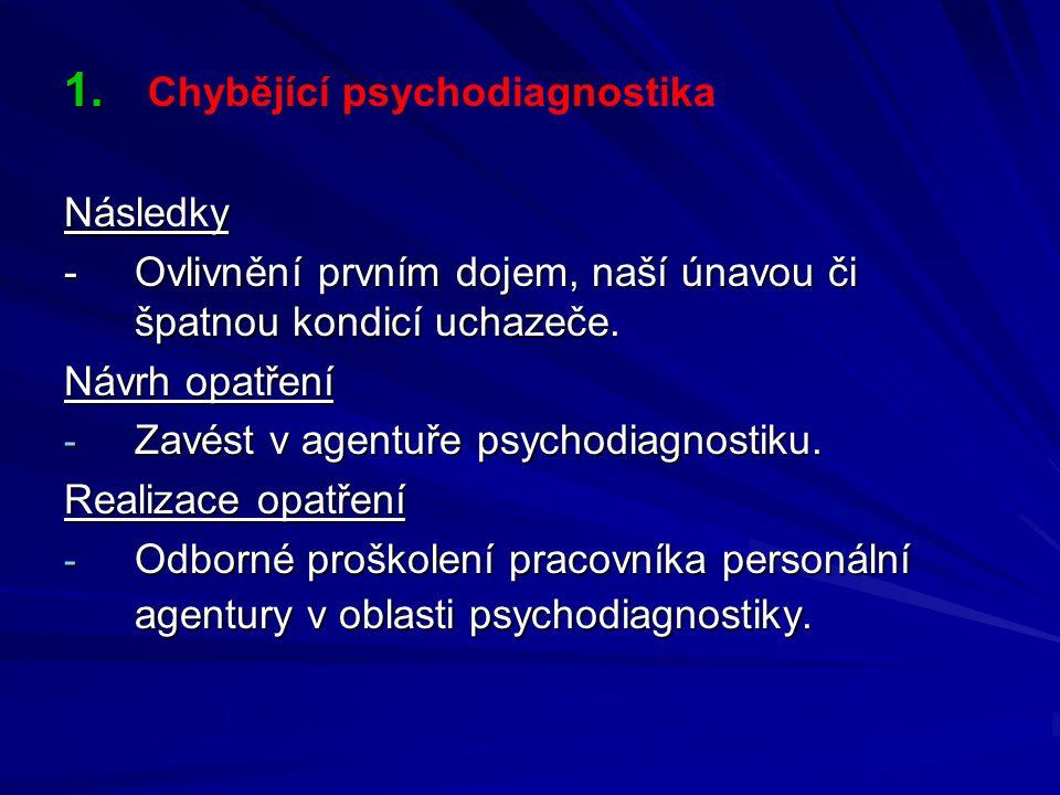 Chybějící psychodiagnostika