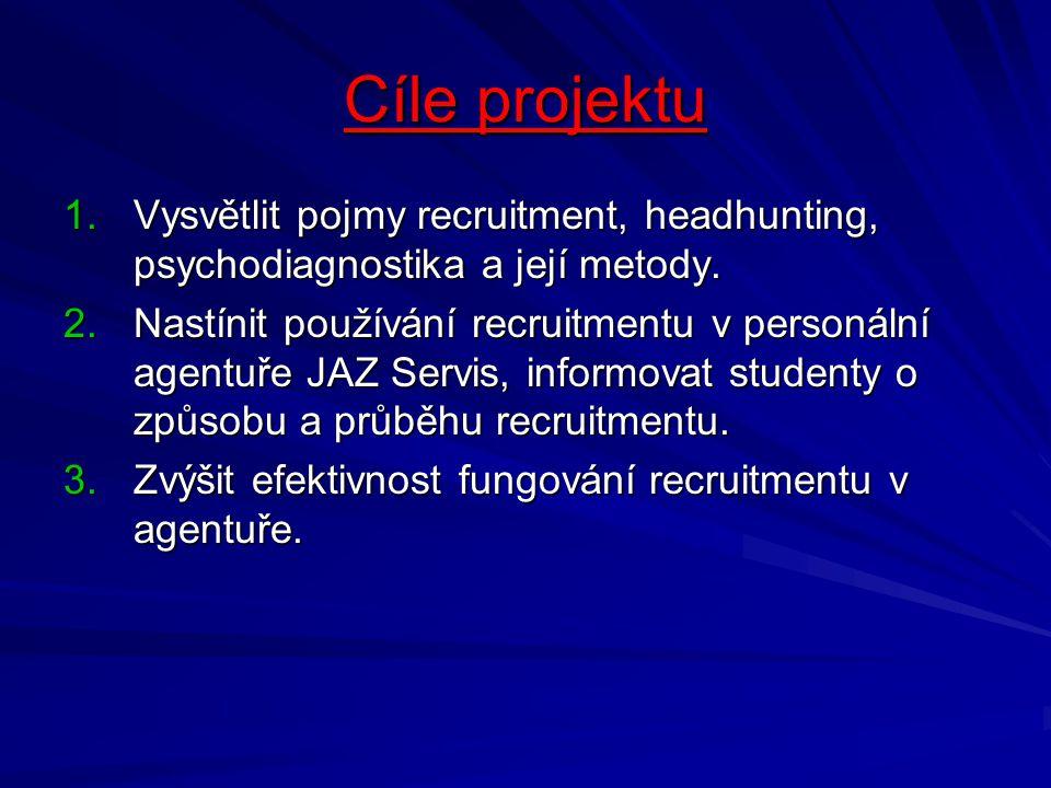 Cíle projektu Vysvětlit pojmy recruitment, headhunting, psychodiagnostika a její metody.