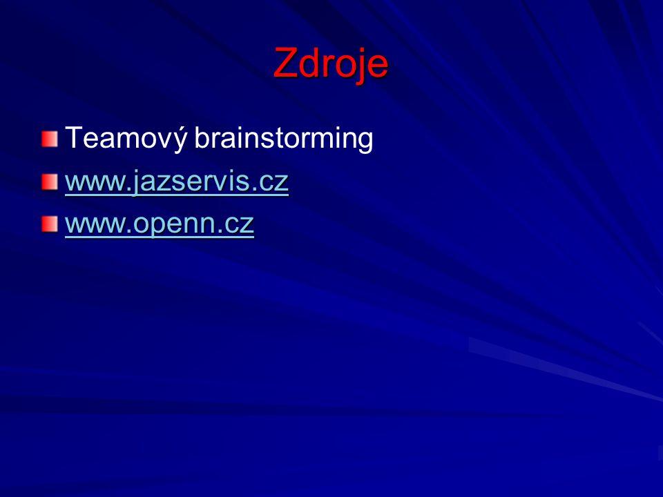 Zdroje Teamový brainstorming www.jazservis.cz www.openn.cz