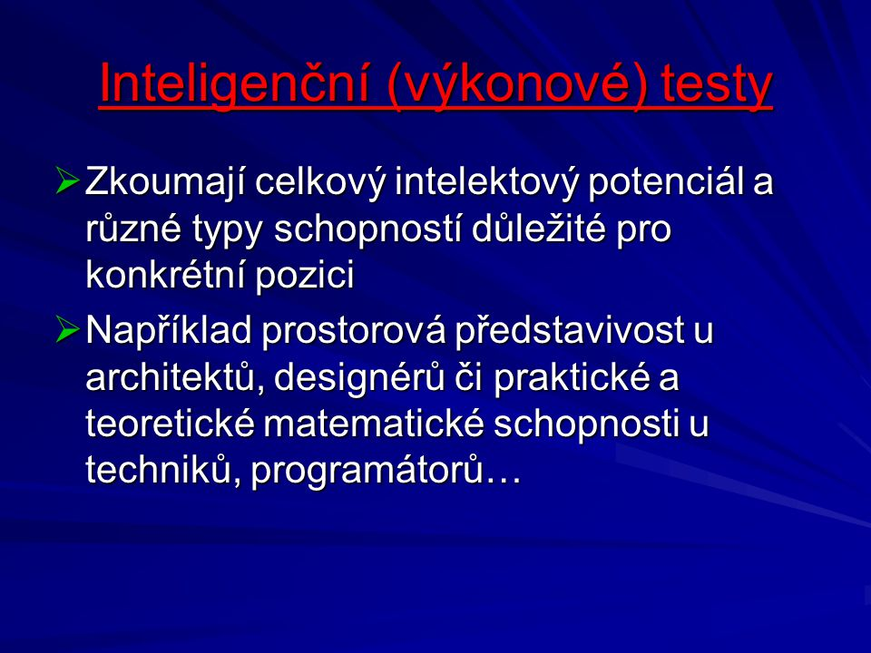 Inteligenční (výkonové) testy