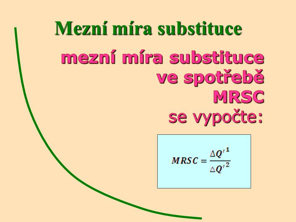 Mezní míra substituce mezní míra substituce ve spotřebě MRSC