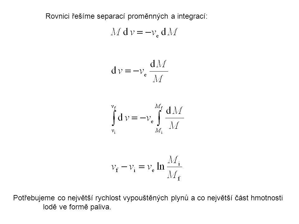 Rovnici řešíme separací proměnných a integrací: