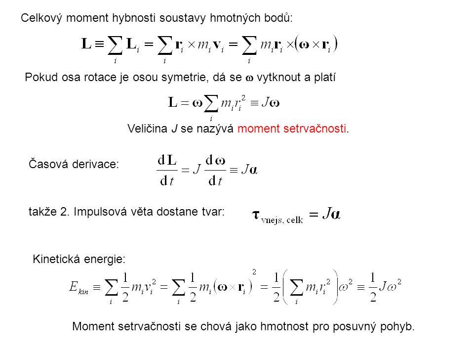 Celkový moment hybnosti soustavy hmotných bodů: